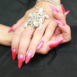 ricostruzione unghie gel rosso peonia